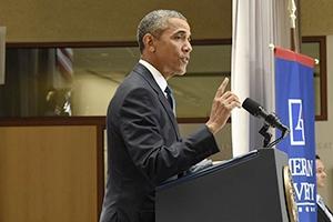 President Obama speaking at AU