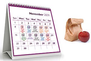 November 2009 calendar with dates circled