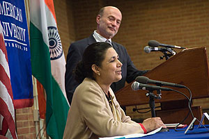Photo: Meera Shankar, India's ambassador to the U.S., spoke at SIS on Oct. 6.