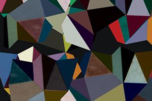 Album art from Portico Quartet album Isla. Abstract art consisting of multicolored triangles