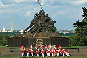 Marine Drum and Bugle Corps in front of Iwo Jima Memorial.