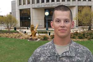 Sgt. Jordan Jackson, 27, is a student in AU's post-baccalaureate premedical program. A medic in the Virginia Army National Guard, Jackson is currently stationed in Iraq and hopes to return to AU in spring 2010.