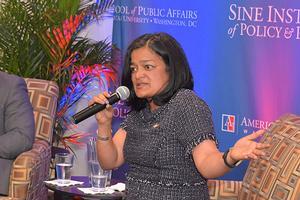 Rep. Jayapal speaks at event