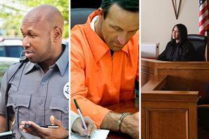 police officer, lawyer with prisoner, judge