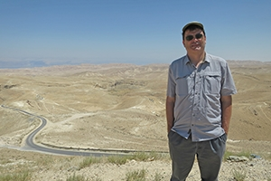 Professor Ken Conca in a desert of Kidron Valley, in the Middle East.