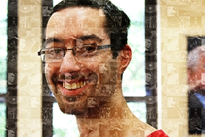 A portrait of Kevin Sutherland, SPA/BA '13, using a mosaic of photos he took.