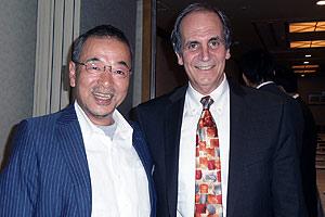 Richard Linowes, right, with Kozo Hiramatsu, SOC/BA '73, at an alumni dinner held in Tokyo.