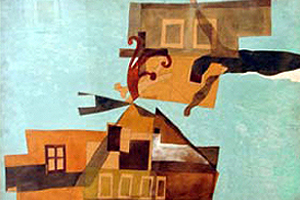 Lajos Vajda painting of house with crucifix