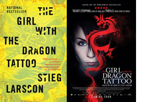 Book cover and movie poster for the Girl With the Dragon Tattoo.