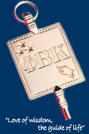 Phi Beta Kappa key and motto: Love of Wisdom, the guide of life