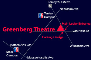 Map showing Greenberg Theatre at Wisconsin Ave. and Van Ness St.