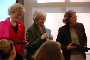 Professors Lyn Stallings, Frances Van Dyke, and Elizabeth Malloy (from left to right) after accepting the award.