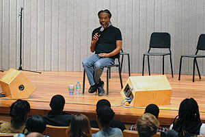 Photo: Bobby McFerrin on stage at the College of Arts and Sciences' Arts 360 Initiative.