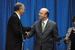 Photo: Rep. Jim McGovern (D-Mass.) receives an honorary degree from the University of Central America in El Salvador.