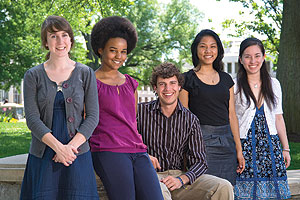 From left: Boren winners Malina Keutel, Amber Jolla, Grant Livingston, Monica Sok, Amanda Osborn