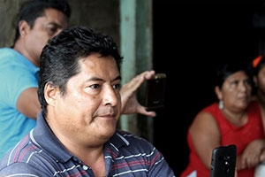 UPOEG community leader and political activist Miguel Angel Jiménez Blanco collects voters' testimonies of alleged vote-buying and coercion in San Marcos, Guerrero in June. Image by Kara Andrade. Mexico, 2015.