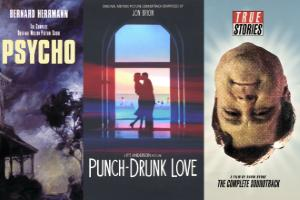 Movie posters from Psycho (spooky house in dusk or fog), Punch Drunk Love (a couple embracing in front of a window) and True Stories (John Goodman's head upside down)