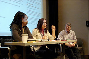 Left to right, Denise Rolark Barnes of The Washington Informer and Mc Nelly Torres, freelance journalist, Brant Houson of University of Illinois at Urbana-Champaign