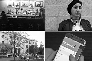 Four photos of a bar, a girl, an American University building and a cell phone