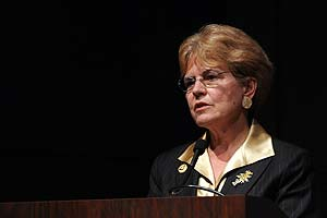 Jane Lubchenco, administrator of the National Oceanic and Atmospheric Administration (NOAA) spoke at the Katzen Arts Center, Nov. 19. (Photo: Bill Petros)