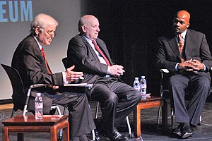 Nick Clooney posed tough questions to panelists Floyd Abrams, a First Amendment lawyer who appears in the film, and SOC Ethics Professor John Watson, about the decision by the movie's main character not to reveal a confidential source.