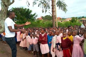 Students listening to teacher at Nyaka.