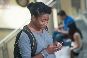 Student Using Mobile Device