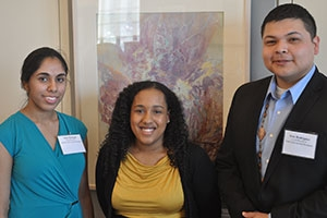 American University students including, from left to right, Sneh Hanspal, Chenoa Lee, and Eric Rodriguez, were recognized for their achievements at the Office of Merit Awards Luncheon in spring 2013.