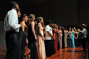High school students perform arias at the Katzen Arts Center during the Washington National Opera workshop