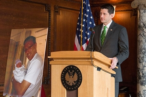 House Speaker Paul Ryan speaks at a memorial service held for Lorenzen in April.