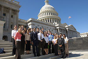 Representative John Lewis, D-Ga., with AU students during a visit to Capitol Hill