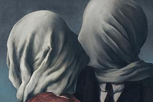 Cover art from Punch Brothers album The Phosphorescent Blues. Couple kissing with faces covered in fabric