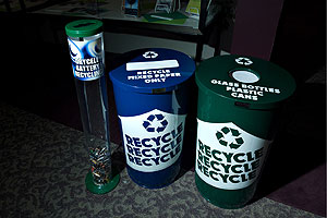 Recycling bins located in offices and residence halls make it easy for everyone to recycle. (Photo: Jeff Watts)