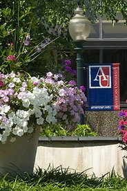 A summer scene of the AU campus.