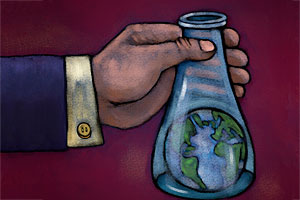 Hand holds a lab beaker with a globe inside