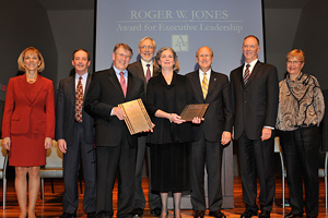 Roger W. Jones Award winners John Montgomery and Margaret Gilligan pose with their plaques, October 24. (Photo: Anne Doyle)