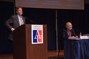 Photo: President Neil Kerwin opened the conference on Collaborative Government cosponsored by AU's Center for the Study of Rulemaking. Philip Harter from the University of Missouri Law School also spoke.