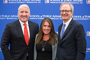 Jennifer Lawless with John King, left, and Richard Fox, right