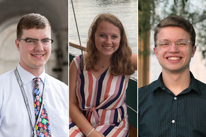 Headshots of the three spring 2020 Kogod grads in this article.