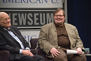 Photo: Frank Mankiewicz, left, with Tom Shales at SOC's February 2009 Reel Journalism showing of Citizen Kane