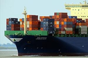 Boat carrying shipping containers