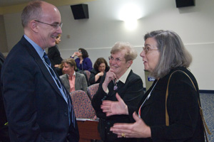 Dean Peter Starr with Mary Garrard and Norma Broude. Photo by Jeff Watts.
