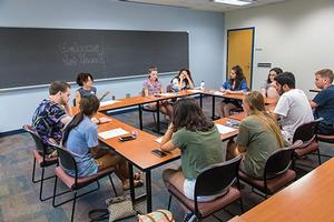 Students participate in an AUx round-table discussion
