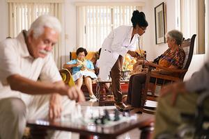 Doctor and nursing home residents