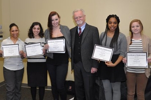 Award-winning poets, Alisha Carrington, Alexa Marie Kelly, Sarah Bousquet, Tatiana Laing and Grace Austin, with Robert Johnson.