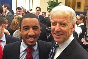 Deon Jones with Vice President Biden