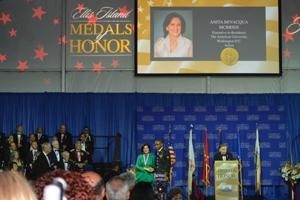Anita McBride receives the Ellis Island Medal of Honor