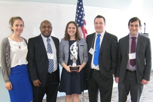 Left to Right: Tracey Livingston, Haile Dagne, Kency Nittler, Kellen Grode, and team adviser Daniel Puskin