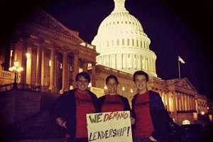 SPA Leadership students stand outside of the Capitol.