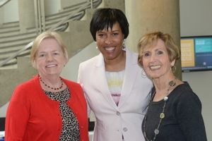 SPA Dean Barbara Romzek, left, and Connie Morella, right, ambassador-in-residence, and Muriel Bowser, SPA alum and Democratic candidate for DC mayor.